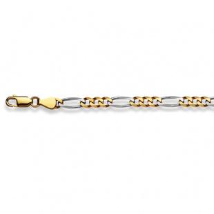 Figarokette 4.5mm in Gelb- und Weissgold 750/18K
