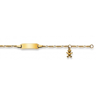 Bébé-Bracelet Figarokette 2.1mm mit Bär in Gelbgold 750/18K