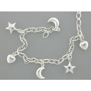 Quinn Armkette mit Herz, Mond & Sterne in Silber 925