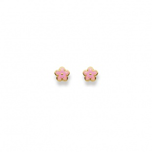 Ohrstecker Blume rosa lackiert in Gelbgold 750/18K