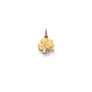 Anhänger Kleeblatt mit Diamant in Gelbgold 750/18K