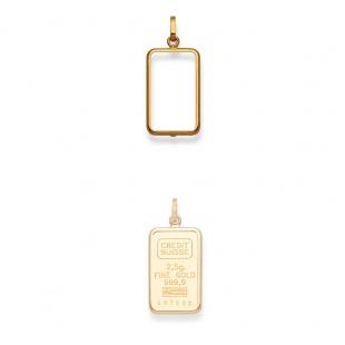 Anhänger Fassung für 2g und 2.5g Goldbarren in Gelbgold 750/18K