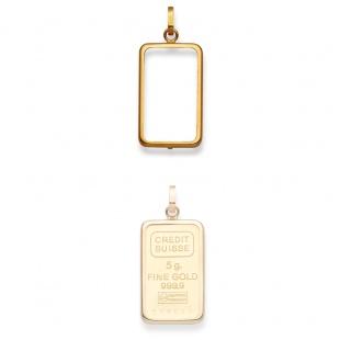Anhänger Fassung für 5g Goldbarren in Gelbgold 750/18K