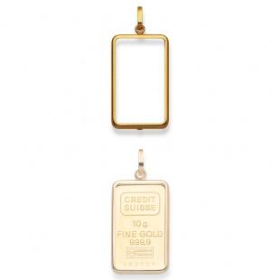 Anhänger Fassung für 10g Goldbarren in Gelbgold 750/18K