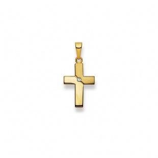 Anhänger Kreuz 4537 mit Brillant in Gelbgold 750/18K