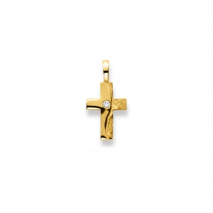 Anhänger Kreuz 4539 mit Brillant in Gelbgold 750/18K