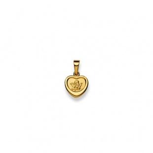 Schutzengel 10mm Herzform in Gelbgold 750/18K