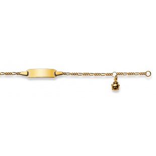 Bébé-Bracelet Figarokette 2.1mm mit Glückskäfer in Gelbgold 750/18K