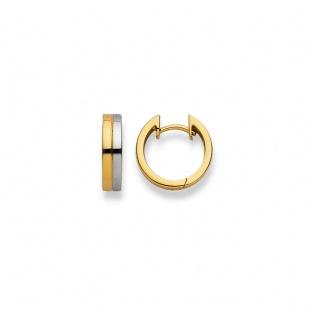 Creolen 15mm ∅ / 3.8mm in Gelb- und Weissgold 750/18K
