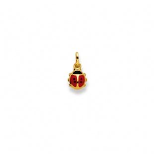 Anhänger Glückskäfer rot/schwarz lackiert in Gelbgold 750/18K