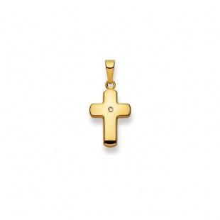 Anhänger Kreuz 4536 mit Brillant in Gelbgold 750/18K