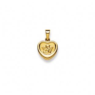 Schutzengel 12mm Herzform in Gelbgold 750/18K