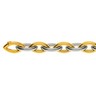 Navettkette Bracelet 8.5mm in Gelb- und Weissgold 750/18K